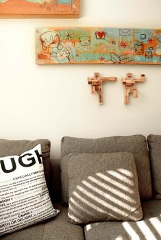 house tours, pillow, artworks, cushions, grey