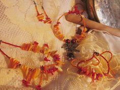 Fire Fairy: Necklace, Anklet, Bracelet, and Earring Set. $40.00, via Etsy.