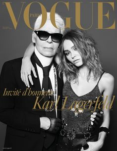 Karl Lagerfeld and Lily Rose Deep by Hedi Slimane for Vogue Paris December 2016 / January 2017 cover - Christmas Issue