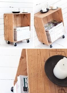 Diy magazine storage: a crate with casters - possible use of my material (cast polyamide which I can produce) for the casters Diy Wooden Crate, Wooden Crates, Wooden Wine Boxes, Wine Crates, Magazine Storage, Magazine Racks, Ideas Magazine, Magazine Organization, Ideas Prácticas