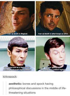 Fun for the day! Spock and Bones Star Trek aesthetic ; Star Wars, Star Trek Tos, Star Trek Voyager, Star Trek Spock, Star Trek 2009, Star Citizen, Stephen Hawking, Wallpaper Star Trek, Tumblr Stars