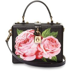 Dolce & Gabbana Dolce Box rose-print leather bag (36.235.955 IDR) ❤ liked on Polyvore featuring bags, handbags, shoulder bags, black pink, genuine leather purse, leather shoulder handbags, genuine leather handbags, pink purse and retro purses