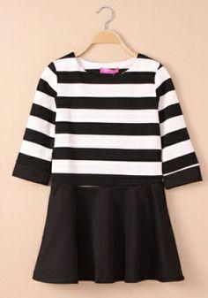 Fashoin Enchating Fashionable Dizzying Black Blending round neck Half Sleeve Striped Fashion Dresses