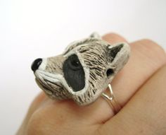 Raccoon Ring Racoon Jewelry Animal Ring by SpotLightJewelry