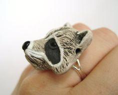 Raccoon Ring Racoon Jewelry Animal Ring by SpotLightJewelry