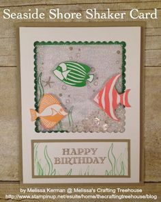 Shaker Card using the Seaside Shore stamp set and featuring Cucumber Crush, Peekaboo Peach and Flirty Flamingo. This card created for the Color Fusers Blog Hop - Part 2 for July Created by Melissa Kerman, Stampin' Up! demonstrator since 2003.