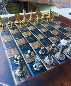 Stunning Handmade/Handpainted Steampunk Chess Set (play - The Brass Caliper - 10
