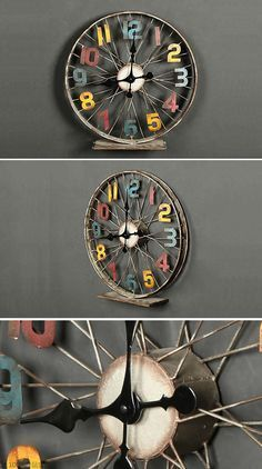 diy clock ideas home… unique wall clock designs ideas;diy clock ideas creative; diy clock ideas homemade;diy clock ideas for kids Bicycle Wheel, Bicycle Art, Bicycle Clock, Bicycle Crafts, Diy Clock, Clock Ideas, Clock Decor, Outdoor Clock, Wall Clock Design