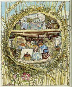 Jill Barklem - английский иллюстратор и автор книг. Её самая известная работа - серия книг про мышей Brambly Hedge (я так понимаю что это можно перевести как заросли ежевики).…