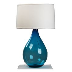 Bring the beautiful blues of the ocean into your home with this teardrop shaped lamp  Poseidon Aqua Blue Lamp - handblown glass