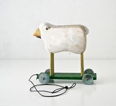 Wood Lamb Pull Toy  Home Decor by BeeJayKay on Etsy #toys #wood #animals