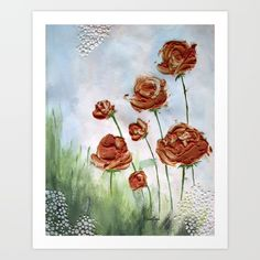 "mixed media artwork with acrylic paints and light molding paste. original artwork measures 8"" X 11.25"" <br/> <br/> flowers, roses, painting, mixed media, nature"