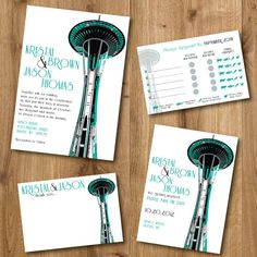 Amazing Seattle Space Needle Washington State wedding invitations