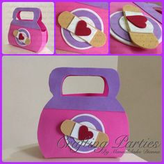 Previous pinner..Doc. McStuffins favor bag. Great for birthday parties! Made completly out of EVA Foam. To see more of my handmade creations or for pricing information, visit my fan page at www.facebook.com/CraftingPartiesByDianna or on Instagram @craftingparties