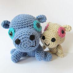 Little Hippo and Mom  PDF amigurumi crochet pattern by anapaulaoli, $3.25