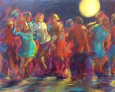 Dance Paintings: Moon Dance: 2014 acrylic painting on canvas, measuring 24 x 30 inches, by artist Susan Tobey White