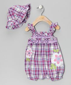 Young Hearts Purple Plaid Romper & Hat - Infant | zulily