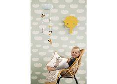 prachtig wolkjes behang Ferm Living | kinderen-shop Kleine Zebra