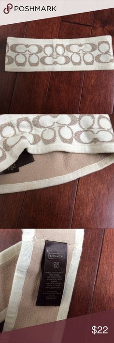 """Coach Tan and Gold Winter Headband So cute!  Winter headband from Coach.  Tan with gold sparkly """"C""""s.  Inner side is lined with medium brown material that is very soft.  Gently worn, very good condition.  One size. Coach Accessories Hats"""