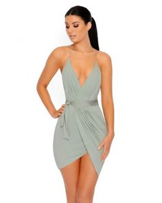 Mini Halter Wrap Dress in Sage - Thumbnail