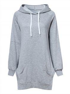 50.78$  Buy now - http://vixac.justgood.pw/vig/item.php?t=il9fdo30918 - Casual Solid Hooded Long Sleeve Side Split Loose Women Sweatshirt
