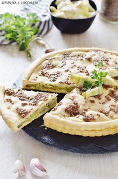 Torta rustica con ripieno di carciofi - Paprika e Cioccolato Camembert Cheese, Olive, Ethnic Recipes, Food, Salads, Essen, Meals, Yemek, Eten