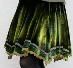 Silk Velvet Handkerchief Skirt Iridescent Green by NavajoVelvet