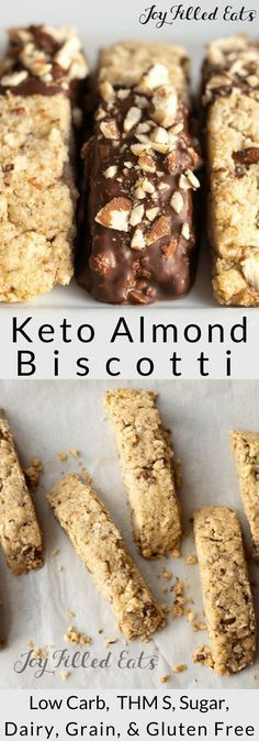 Almond Biscotti Cookies Recipe - Low Carb, Keto, Grain-Free, Gluten-Free, Dairy-Free, THM S - Chocolate Dipped Biscotti Cookies are a perfect nightcap to a busy day. Sip a cappuccino and indulge in this low carb cookie.