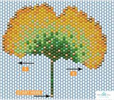 Schema Collier feuille de ginko en tissage brick stitch                                                                                                                                                                                 Plus