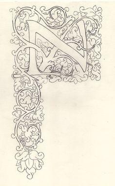 La última inicial que realicé en relieve, siguiendo un modelo típico de Vigne Blanche me gustó, así que decidí utilizar un diseño similar...