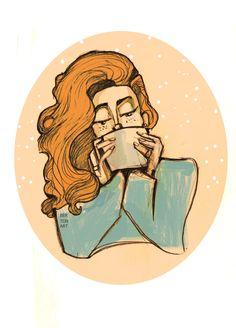 Чашечка теплого чая всегда согреет! #coffee #tea #warm #winter #girl #sketch #drawing #illustration  #sweater #чай #кофе #тепло #зима #девушка #рисунок #эскиз #иллюстрация #рыжая #свитер