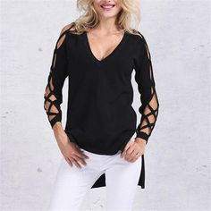 Now available on our store. T Shirt Women 201.... Check it out here!  http://voguebands.com/products/t-shirt-women-2017-designer-brand-sexy-v-neck-long-sleeve-hollow-out-side-split-tops-shirts-plus-size-cotton-t-shirt?utm_campaign=social_autopilot&utm_source=pin&utm_medium=pin