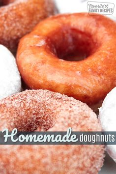 These Homemade Doughnuts are light and delicious! We coated some with cinnamon and sugar, some with powdered sugar, and even glazed a few. Köstliche Desserts, Delicious Desserts, Dessert Recipes, Yummy Food, Dessert Tray, Breakfast Recipes, Donut Recipes, Cookie Recipes, Homemade Donuts