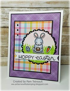 "airbornewife's stamping spot: #thedailymarker30day Day 2 ""HOPPY EASTER"" card using Lawn Fawn stamps/dies"