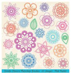 Doodle Mandala Flowers PS Brushes by PinkPueblo on Creative Market