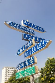 Beijing traffic sign - OK lost already.  Only the lower green sign is a street sign. The blue signs are nearby hospitals and a hotel.