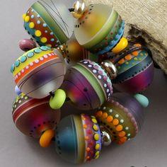 Magma Beads ~Carnavale minis~  Handmade Lampwork Beads by French Australian artist Regis Teixera on Ebay