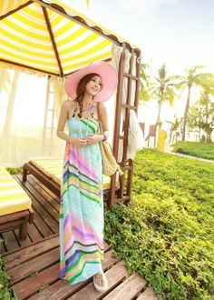 Striped Maxi Dress - The perfect outfit to wear on a vacation or during a sunny day outside. www.kawaiikawaii.my #striped_maxi_dress #striped_beach_dress #beach_dresses #maxi_dresses #womens_dresses