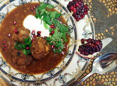 This main course pomegranate soup, Ashe Anar, will hit all your exotic taste buds with pomegranate molasses, yellow split peas, mint leaves & lamb meatballs