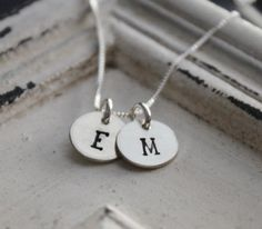 Hand Stamped Necklace .. Mother's Necklace .. Two Thick Initials Necklace…