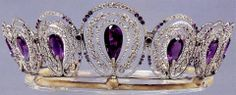 Amethyst Tiara - originally part of the Tsarist Russian jewels - then went to Dutch ownership - and unknown owner bought it at auction at Christies in 1946 by an unknown owner, it has remained hidden since - this is a copy created from photos known from the original tiara.