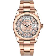Rolex Day-Date 36mm Everose Gold Domed Bezel 118205 Pink MOP Carousel... ($37,720) ❤ liked on Polyvore featuring jewelry, watches, gold watches, gold wrist watch, diamond jewelry, rolex wrist watch and gold jewelry