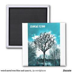 weird metal tree blue and cyan tint