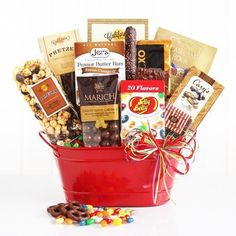 Make a mouthwatering splash with this bright and cheery gourmet gift that is a perfect way to say Congrats, Happy Birthday, or job well done! Big and bold, our red metal container is bursting with great tastes. Salted Caramel Cookies (2 oz each, 1 count); Chocolate Almond Toffee (1.3 oz each, 1... more details available at https://perfect-gifts.bestselleroutlets.com/gifts-for-holidays/grocery-gourmet-food/product-review-for-mouthwatering-celebration-gift-bucket/