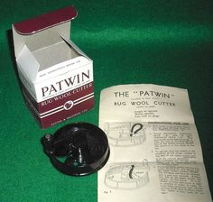 Vintage Patwin Bakelite Craft Rug Making Wool Cutter Box Instructions New Blade