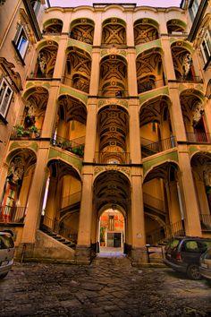 Palazzo dello Spagnolo staircase. Aniello Prezioso. 1742. Naples