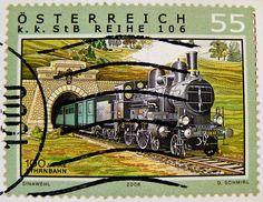 stamp Austria railway train