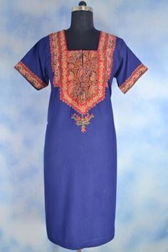 Embroidered Long Tunic, Embroidery on front and sleeves, 1/2 sleeves.