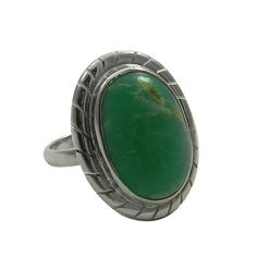 Natural Chrysoprase Oval Gemstone Solid 925 Silver Beautiful Ring,Ring Size 5.5 #Handmade #Band