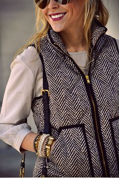 J. Crew herringbone zip vest. Absolutely love it for fall/winter. I WANT THIS SO BADLY